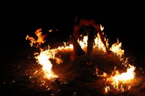 Fire Spinning Burn Circle